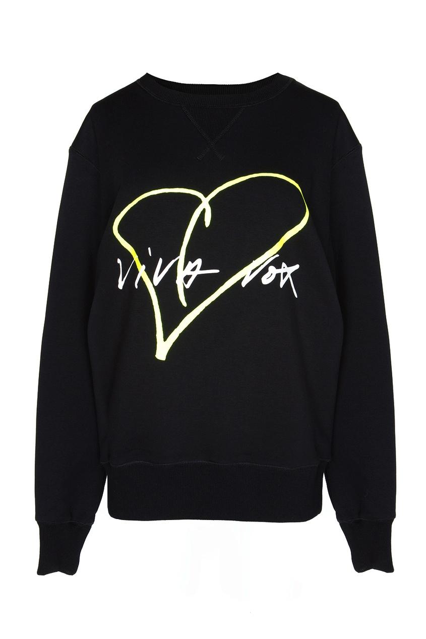Черная толстовка с принтом-сердцем Viva Vox. Цвет: черный